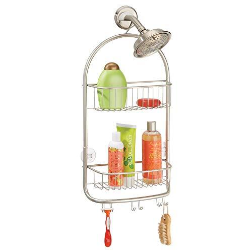mDesign Organizador de ducha para colgar sobre el cabezal (extragrande) – Cesta de ducha sin taladro con ventosas – Estante para ducha de metal para champú, cuchillas, etc. – plateado mate