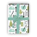 Kartenkaufrausch Grünes Retro Küchen Geschenkpapier Set mit Vintage Koch & Back Utensilien als edle Geschenk Verpackung um schön zu schenken, 32 x 48cm, für selbst-gemachtes