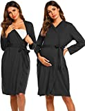 Ekouaer Women Robe Soft Kimono Robes Cotton Bathrobe Sleepwear Loungewear,Black,Medium