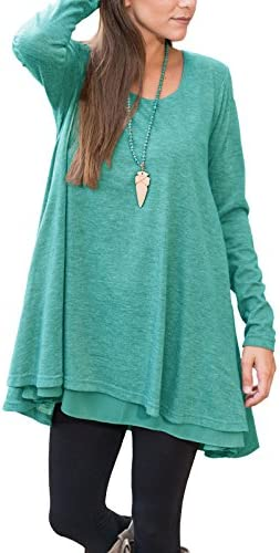 Floral Find Women Long Sleeve Blouse Layered Scoop Neck Tunic Loose Fit Top product image