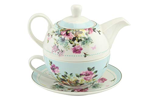 EHC Vintage Floral New Bone China Tea for One Teapot Cup saucer Set, Gift Boxed - Dishwasher and Microwave Safe