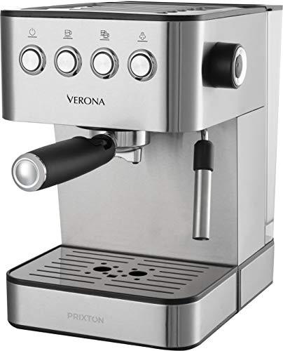 PRIXTON - Espressomaschine / Kaffeemaschine mit 20 -bar-Druck, 850 W Leistung, doppelter Auslasshalter für 2 Kaffee und integrierter klein Verdampfer für Heizung und Schaum, Edelstahl | Verona