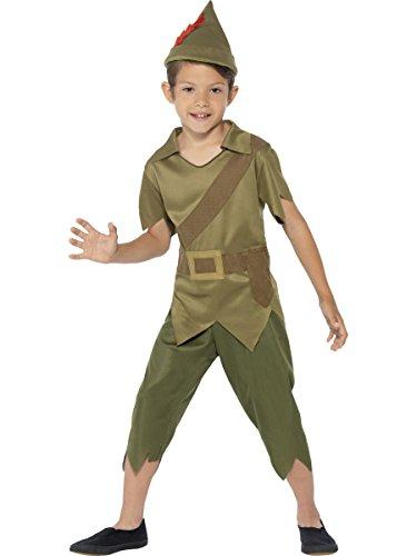 confettery–Niños Robin Hood Disfraz de bosque Camino elfkostüm Elf con pantalón, camiseta y gorro, 104–152, 4–12años, color verde