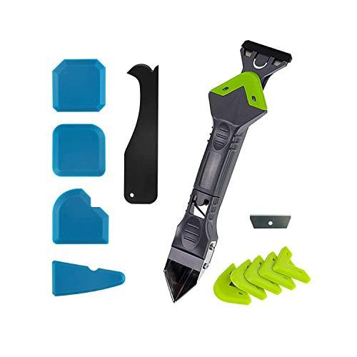 11 piezas 3 en 1 herramientas de calafateo lechada rascador removedor de silicona raspador almohadillas renovación azulejos pisos casa cambio de imagen