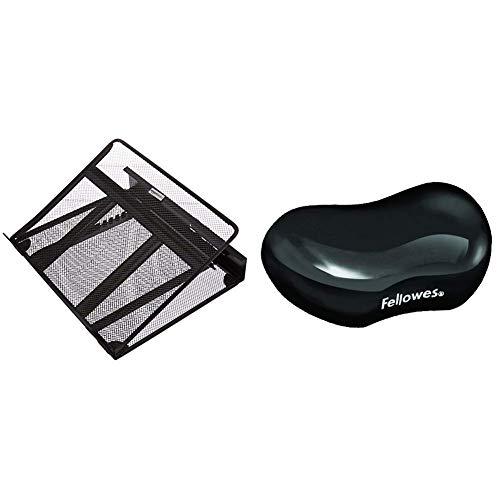 AmazonBasics Laptopständer, belüftet, verstellbar & Fellowes 9112301 Crystals Gel Flex Handballenauflage schwarz