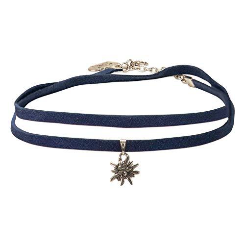 Alpenflüstern Trachten-Wickelband-Halskette Edelweiss - Damen-Trachtenschmuck Dirndlkette blau DHK234