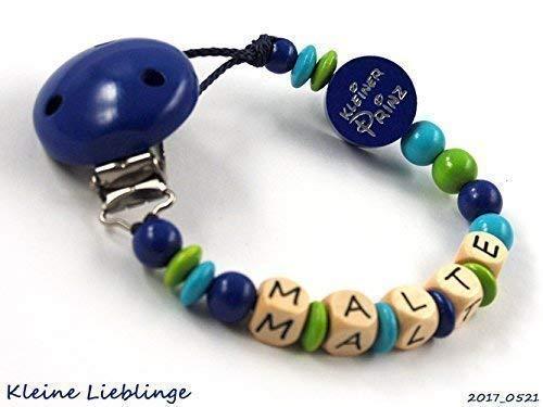 Schnullerkette mit Namen Junge max. 8 Buchstaben - blau - grün - türkis - Holzbuchstaben Baby - Silikonring Taufgeschenk - Kleiner Prinz