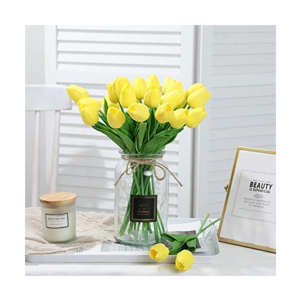 Tifuly 24 Piezas de Tulipanes Artificiales de látex, Ramos de Flores Falsos de Tulipanes realistas para el hogar, Bodas…