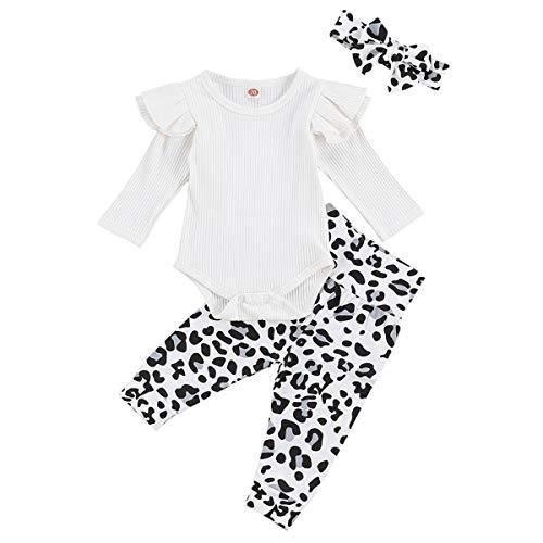 Geagodelia Babykleidung Set Baby Mädchen Kleidung Outfit Langarm Body Strampler + Leopard Hose + Stirnband Neugeborene Weiche Babyset T-48272 (Weiß, 0-3 Monate)