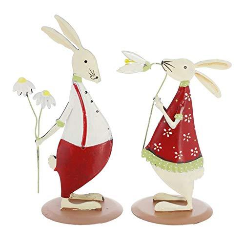 Kunyun Red Cute Tin Rabbit Wrought Iron Couple Rabbit Ornaments Set Of Wedding Decorations Home Window Children's Room Decorations