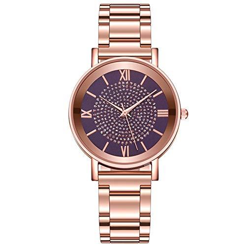 Fenshan223 Reloj de Las señoras Hombres de Lujo Damitas Reloj de Cuarzo Reloj de Acero Inoxidable Dial Casual Moda Pulsera Ladies Girl Watch Gift 2021 (Color : F)