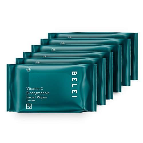 Belei Vitamin C Biodegradable Facial Cleansing Wipes, 6 x 25