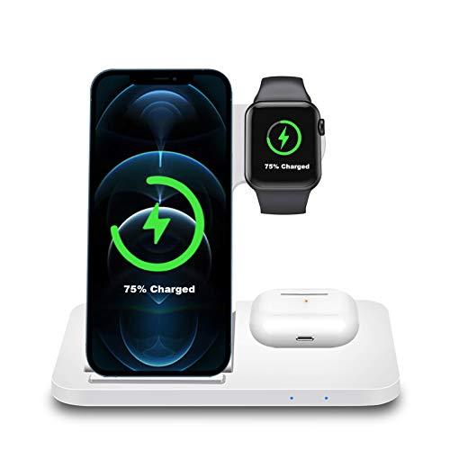 Kabelloses Ladegerät, 3 in 1 15W Faltbar Kabellos Induktive ladestation für Apple Watch 6/SE/5/4/3/2, iPhone 12/11/X/XR/8,Airpods Pro/2, FDGAO Wireless Charger für Samsung Galaxy S20/S10/Note/LG