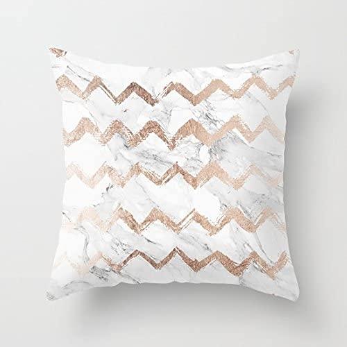 BONRI Elegante funda de cojín cuadrada de algodón con estampado de mármol blanco Chevron de oro rosa para sofá (no dorado real, solo imprime la funda de almohada), 43 x 43 cm
