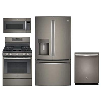 """GE 4-Piece Kitchen Package with GFE28GMKES 36"""" Refrigerator, JGB700EEJES 30"""" Freestanding Gas Range, JVM7195EKES 30"""" Over the Rage Micorwave Oven and GDT655SMJES 24"""" Built In Dishwasher in Slate"""