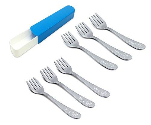 Juego de 6 tenedores para niños de acero inoxidable TeamFar, no tóxicos y saludables, bonitos animales y caja de viaje adjunta, apto para lavavajillas.