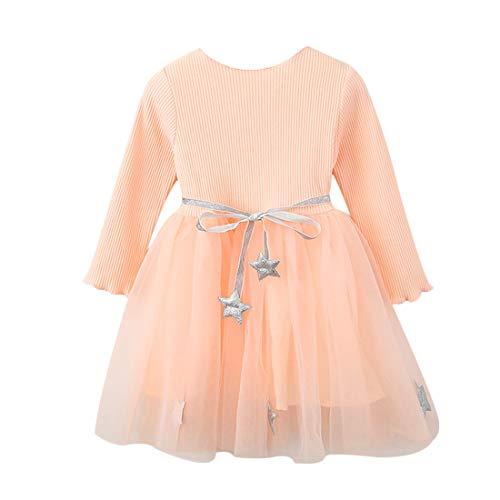 Vestido Tutú 3-8 Años para Bebé Malla Vestidos para Niñas Princesa Infantil Falda Tul Fiesta Estrella Correa Cintura Manga Larga Algodón Punto Lindo