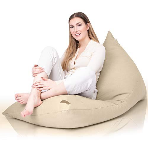 Aiire Moderner Sitzsack Erwachsene Flauschig - Riesen Bean Bag Bezug ohne Füllung für Jugendzimmer Deko, Grob Bodenkissen oder Chill Sessel XXL beige