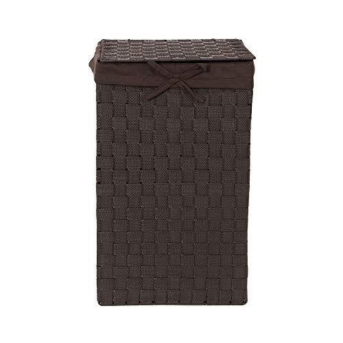 Compactor Tex Cesto Portabiancheria Quadrato Con Coperchio, Cioccolato, Tessuto Con Struttura In Metallo, Fodera In Lino Rimovibile, 30 x 30 x 50 cm, RAN6892