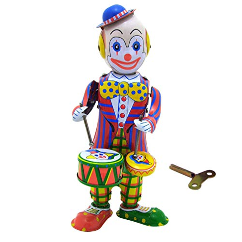 NUOBESTY Vintage Wind Up Tin Toy Drumming Circus Clown Robot Clockwork Toy Gift