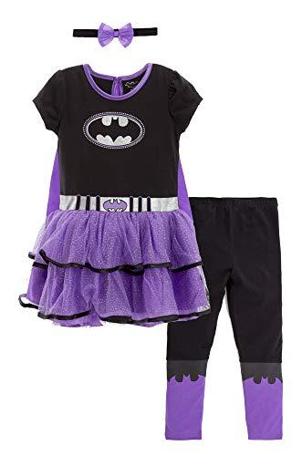 Warner Bros. DC Comics Disfraz de Batgirl con Vestido con Capa, Diadema y Leggings para Bebé Niña 6-12 Meses