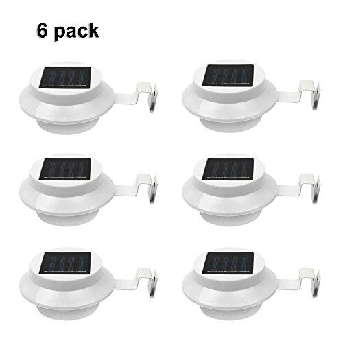 6Pack Outdoor Solar Gutter LED Lights - White...