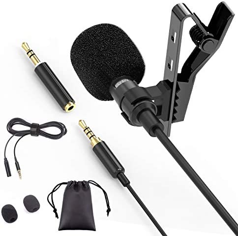 Lavalier Microphone, Electop Omnidirectional Lapel Microphone, Compatible with iPhone iPad iPod Touch Mac Android/Windows/Smartphones, Clip-on Microphone for YouTube, Interview, Studio, Video Record