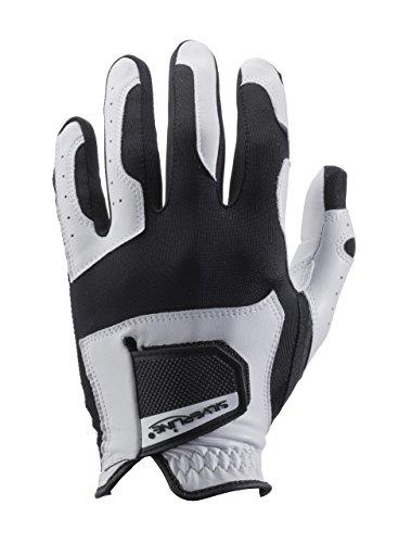 Leder Golfhandschuh für Damen | schwarz-weiss | One-Size-Fits-All Golf-Glove | passt sich allen Handgrößen perfekt an