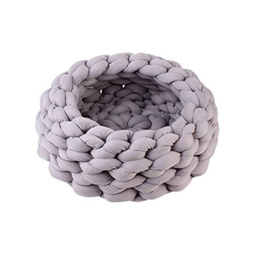 JXLBB Graue handgewebte Wölfe Super dicker Wolltierstreu-Kern, der Weaving Pet Nests in der Waschmaschine