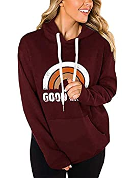 LACOZY Womens Hoodies Long Sleeve Shirt Casual Graphic Tee Shirt Fall Clothes Tops Blouse Wind Red Orange Medium