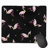 Flamingo in Hut und Schal Kunstdruck Rechteck Mauspads Rutschfeste Gummi Gaming Work Mouse Pad - Genähte Grenze