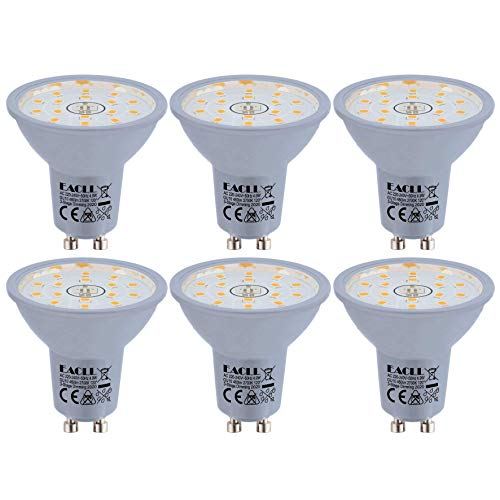 EACLL GU10 LED 4.9W 2700K Dimmbar Leuchtmittel Warmweiss 460 Lumen PAR16 Reflektor Lampen, 3 Helligkeit. 3-Stufig-Dimmen nur mit normalem Schalter. 3-in-1 Lichtanpassung Flimmerfrei Birnen, 6 Pack