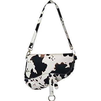Women Cow Print Saddle Shoulder Bag Clutch Purse Underarm Handbag Satchel Zipper Crossbody Bag