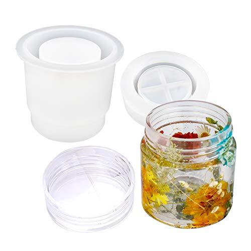 YZNlife Moldes de silicona de resina para manualidades, botella de silicona, recipiente para botellas con tapa, mini vasos, molde para fundir, pequeñas botellas de resina para manualidades