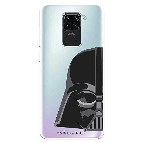 Funda para Xiaomi Redmi Note 9 Oficial de Star Wars Darth Vader Silueta Transparente para Proteger tu móvil. Carcasa para Xiaomi de Silicona Flexible con Licencia Oficial de Star Wars.