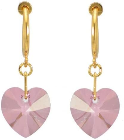 VALENTINE CERCEAU Gold Plated Antique Pink Crystal Clip On Earrings