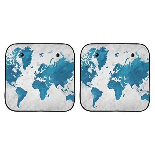 Cortinas de coche para Windows Icono de decoración de mapa mundial de dibujos animados impreso Cortina de ventana de coche ultravioleta Plegable de 2 piezas para la mayoría de los sedanes Suv Truck P