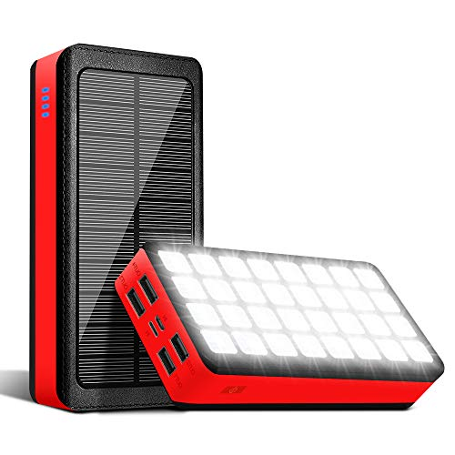 PS000 Solar Power Bank 30000mAh Portable Phone Charger 32 LED Lights Camping Supply Waterproof Huge Capacity with 4 Outputs & 2 Inputs Ports Lit for iPhone Android Laptops(Red)