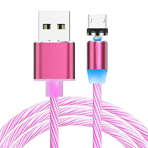 Cable magnético Micro USB, luz LED Creativa Que Fluye Cable de Cargador...