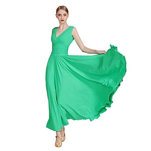 Fhxr Traje de primavera y verano con cuello en V para mujer, vestido de danza moderno y estándar nacional para bailar, vestidos de baile y vals (color: verde manzana, tamaño: XL)