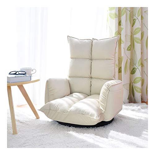 Sillón Lounge Lazy Couch Bean Bag Tatami Sofá Silla Material de Cuero PU Dormitorio Sala de Estar Reposabrazos Silla Diseño Giratorio Ajustable 115 × 67 × 21cm (Color : Beige)