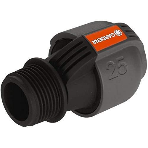 Gardena Sprinklersystem Verbinder: Verbindungsstück für Rohranschluss an Bewässerungsventile und Anschluss an Hausinstallation, 25 mm x 1 Zoll -Außengewinde, Quick&Easy Verbindungstechnik (2763-20)
