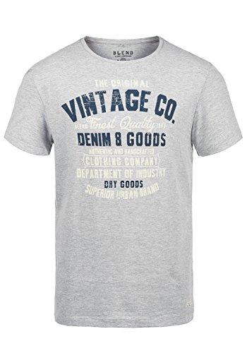 Blend Vadim Herren T-Shirt Kurzarm Shirt mit Print und Rundhalsausschnitt, Größe:XL, Farbe:Stone Mix (70813)