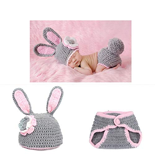Swovo Baby Outfit Cute Knit Bunny Rabbit for Girls Newborn Baby Photography Props Infant Costumes Set Grey