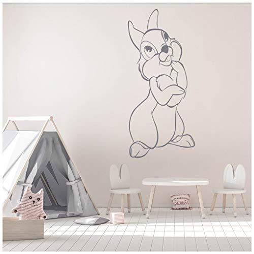 azutura Klopfer-Kaninchen Wandtattoo Bambi Wand Sticker Kinder Wohnkultur verfügbar in 5 Größen und 25 Farben Klein Schwarz