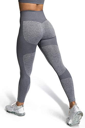 iWoo Damen High Waist Leggings Sport Elastische Tummy Control Yogahose Sporthose Laufhose Training Tights Mit Handytasche (Grau, M)