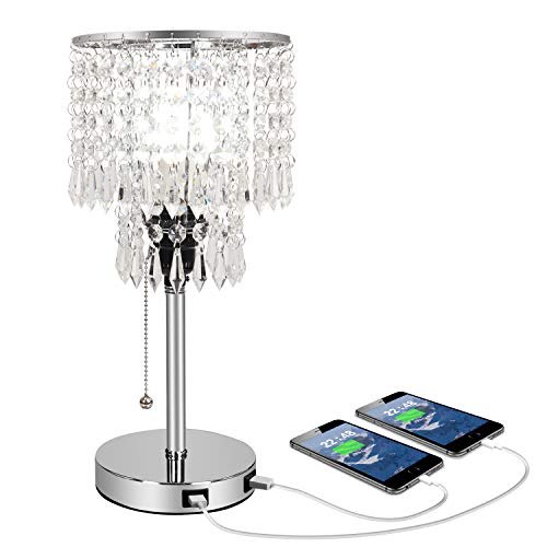 Silver Crystal Bedside Table Desk Lamp with Dual USB Charging Port, Acaxin Bedroom Lamps for Nightstand, Bling Elegant Shade & Unique Pull Chain, Glam Lamps for Bedroom/Living Room/Dining Room