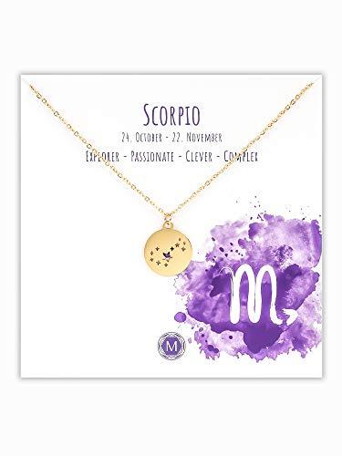 MURANDUM Sternzeichen Halskette | Zodiac Sign Star Constellation Necklace | Damen Kette mit Sternbild Anhänger (Gold, Skorpion/Scorpio)