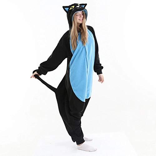 WEIYIing Onesie para Adultos Cat Animal Pijamas Onesies para Adultos Fleece One Piece Sumpsuit Winter Sleepwear Cosplay Disfraz-patrón de Gato Onesies_L