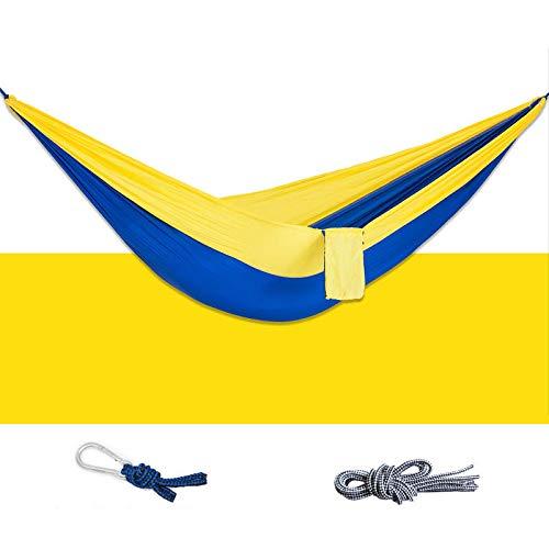 Hamac d'extérieur Simple 260 x 80 cm en Nylon 210T à Suspendre Charge maximale 300 kg Camping Randonnée, Yellow&Blue